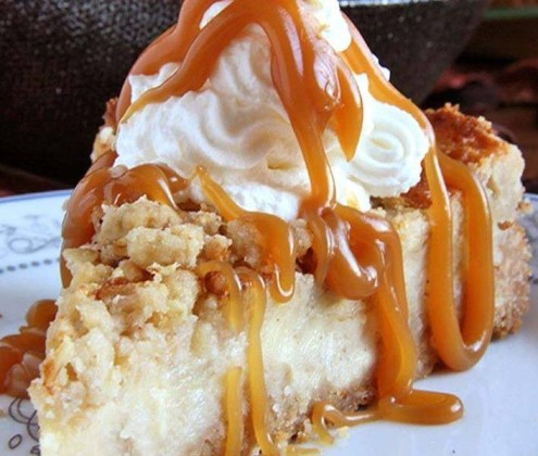Caramel -Apple- Crisp Cheesecake